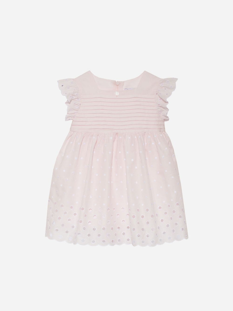 Patachou - COTTON EMBROIDERY PINK DRESS
