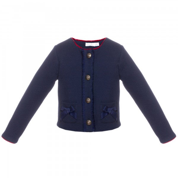 Patachou - Bow Sweater with Red Trim