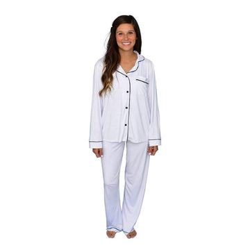 Kyte Baby - Women`s pajama set - Snow with midnight trim