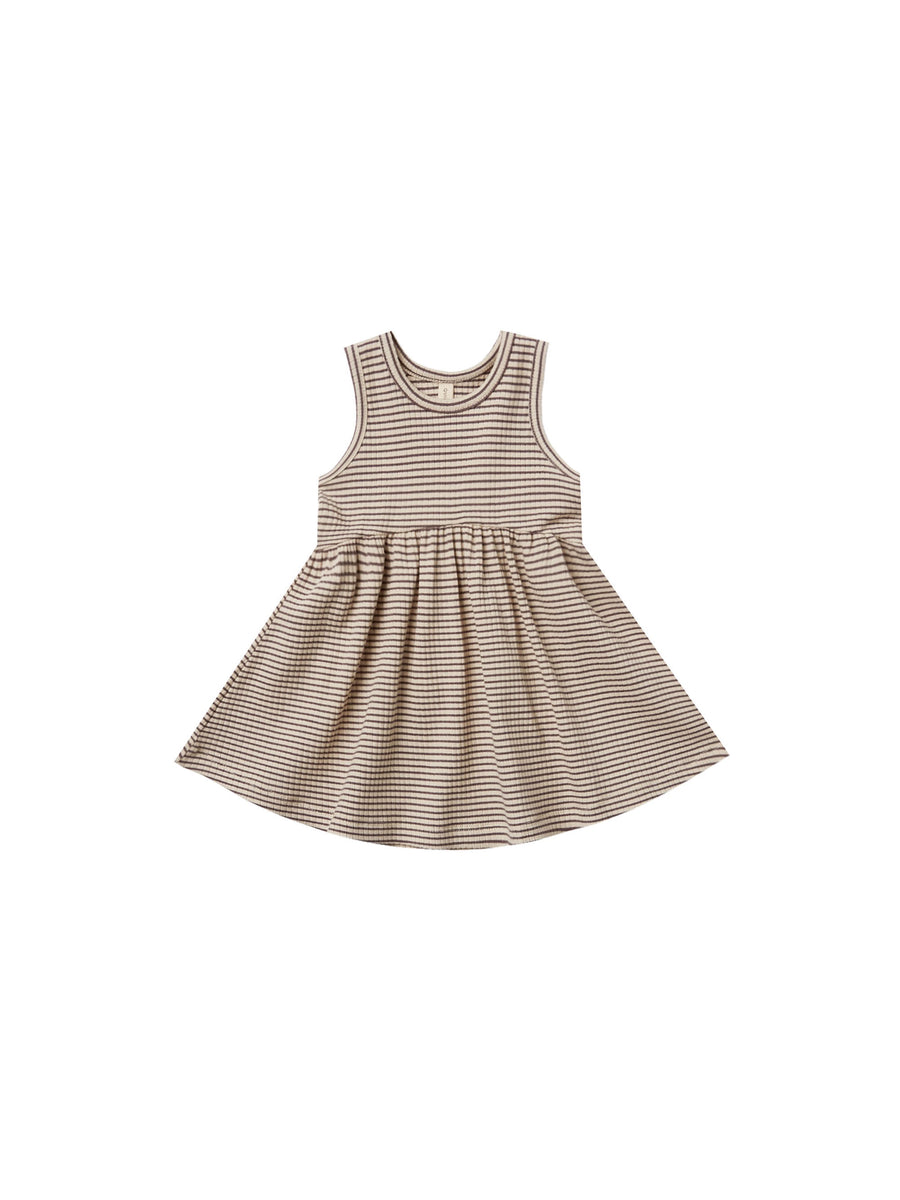 Quincy Mae - Ribbed Tank Dress (Charcoal Stripe)