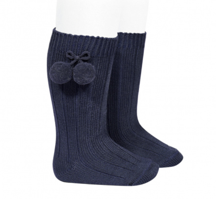 Condor - Ribbed knee-high pompom socks - Navy