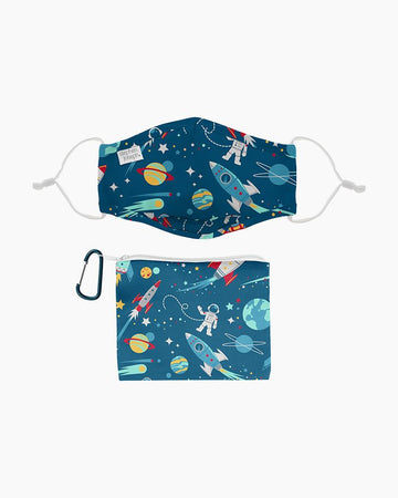 Stephen Joseph - Polyester Adjustable Mask with Zipper Pouch (Space)