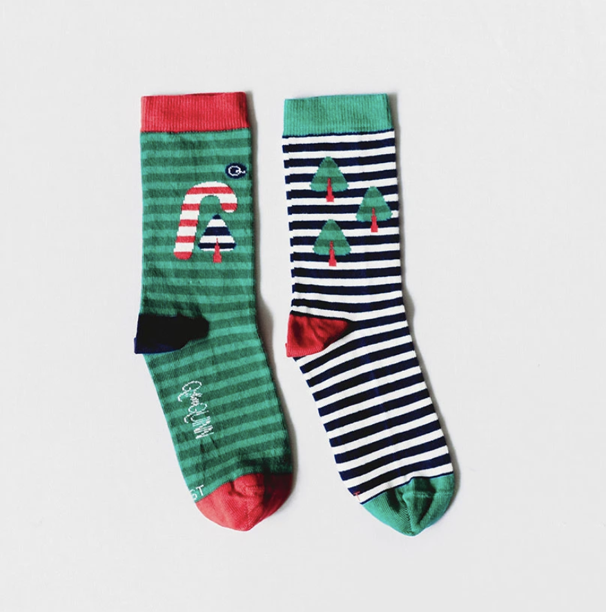 Q for Quinn - Candy Cane Christmas sock