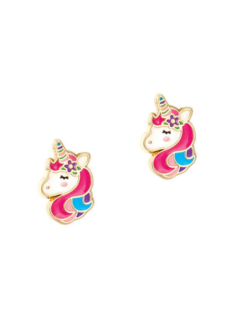 Veille sur toi - Enamel Stud Earrings (Unicorn Dream)