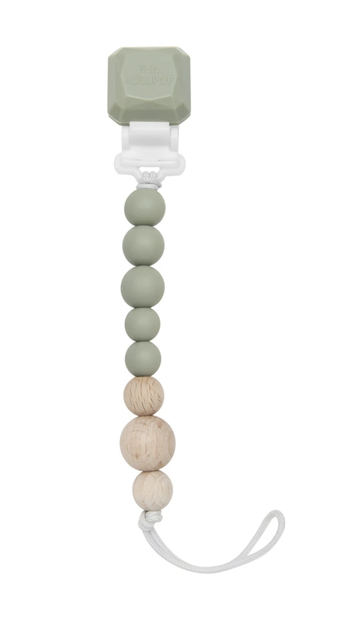 Loulou lollipop - Silicone & wood pacifier gem clip - Silver sage