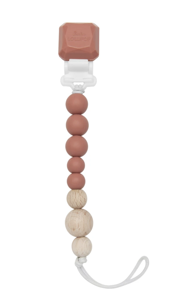 Loulou lollipop - Silicone & wood pacifier gem clip - Terra Cotta