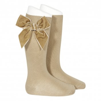 Condor - Velvet bow knee-high socks - Tan