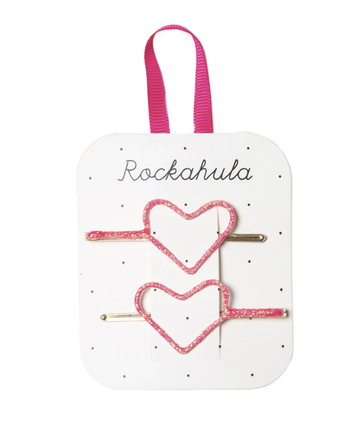 Rockahula - Glitter Heart Cut Out Slides (Neon Pink)