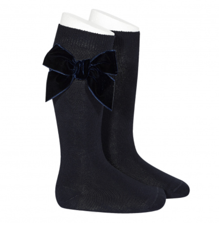Condor - Velvet Bow knee-high sock - Navy