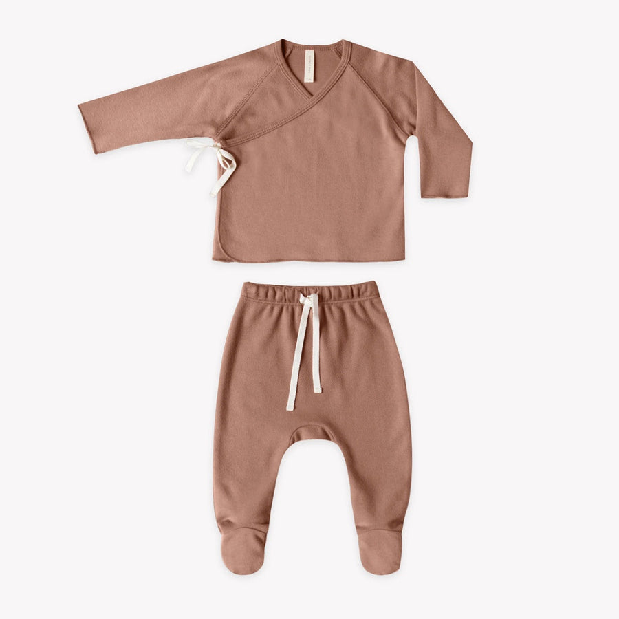 Quincy Mae - Kimono Top & Footed Pant Set (Clay)