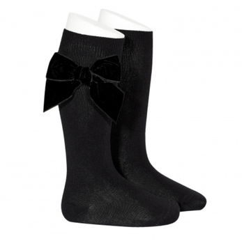 Condor - Velvet Bow knee-high sock - Black