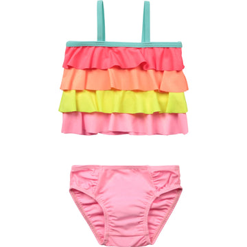 Billie Blush - Baby 2 pc swimsuit w/ multicolor ruffles