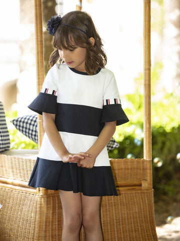 Patachou - INTERLOCK WHITE AND NAVY DRESS