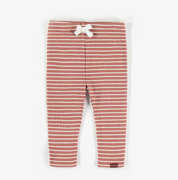 Souris Mini - Organic Knit Striped Leggings - Brown