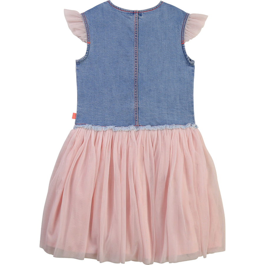 Billie Blush - Denim Tulle Dress w/ Sequin Pockets