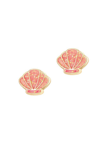 Veille sur toi - Enamel Stud Earrings (Shell Abrate)