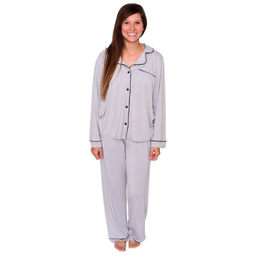 Kyte Baby - Women`s Pajama set - Storm with midnight trim
