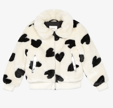 Catimini - Faux Fur Jacket with Heart pattern