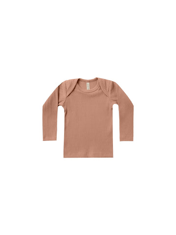 Quincy Mae - Ribbed Long Sleeve Lap Tee (Terracota)