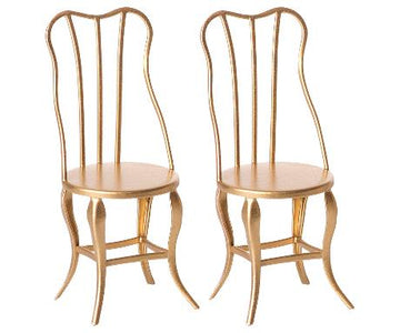 Maileg-Vintage Chair, Micro (Gold)-2pk
