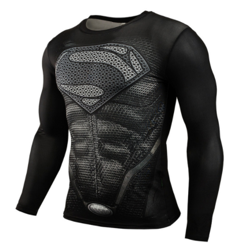 Fitness Compression T-Shirt - 3D in Superman Look