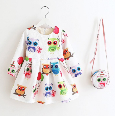 Floral Owl Cartoon Print Girl Dress with a FREE Bag