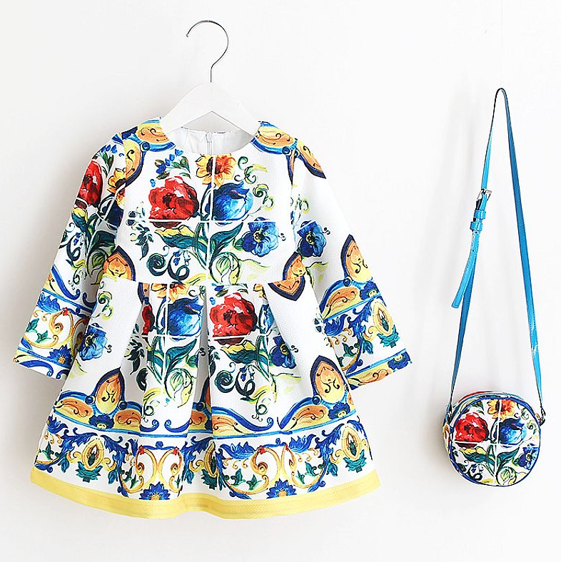 Flower Floral Print Girl Dress with a FREE Bag