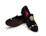 Gold Metal Lion & Ribbon Top Mens Velvet Dress Loafers