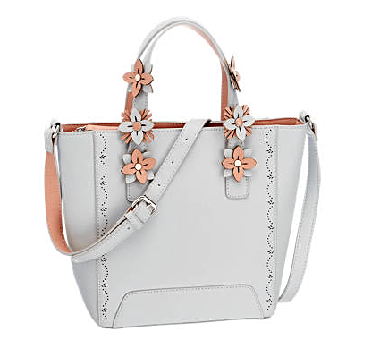 Womens Light Grey Floral Hand Bag -  New Collection