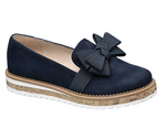 Graceland Ladies Blue Bow Loafers - New Collection - Blue