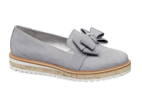 Graceland Ladies Grey Bow Loafers - New Collection - Grey