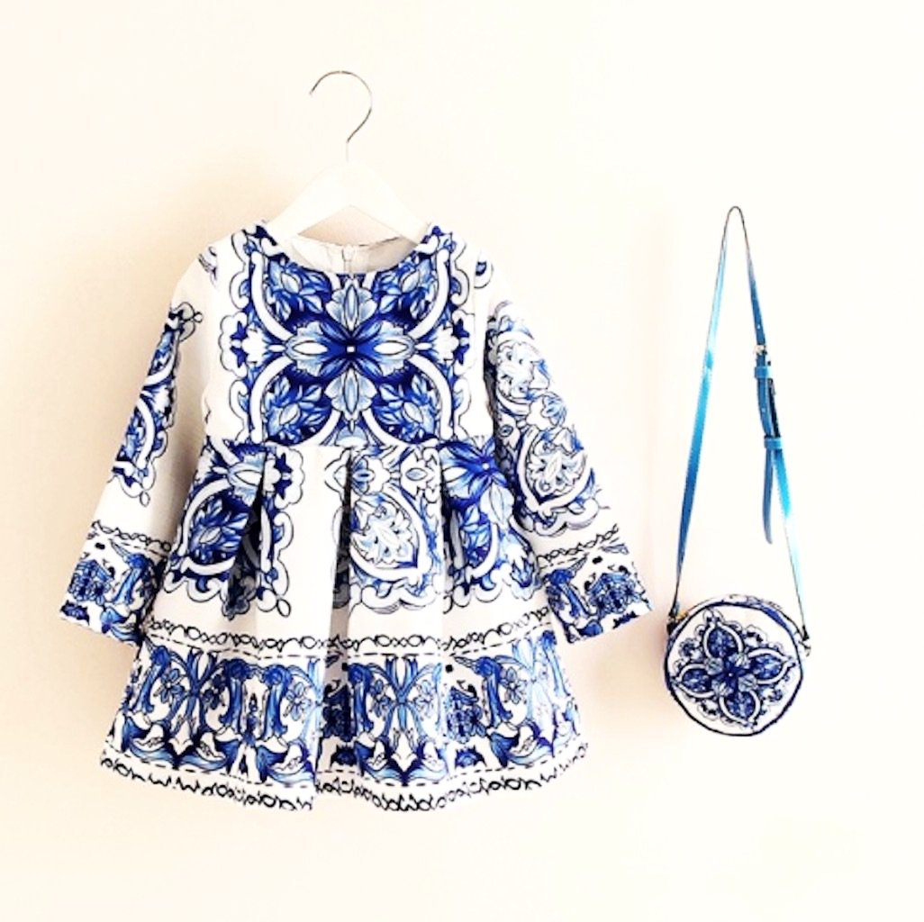 Special Occasion Baby Girls Floral Print  Dress Girl with a FREE Bag