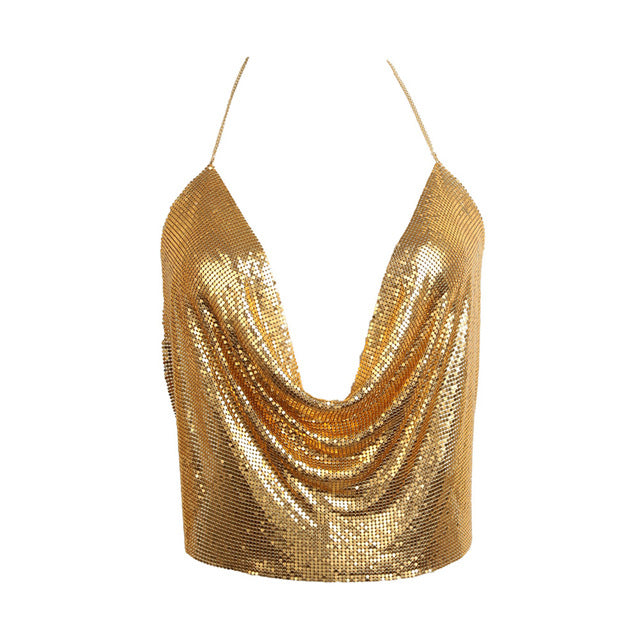 Womens Sexy Backless Party Metal Top - Golden I Shinny Tops I