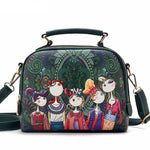 Womens Retro Cartoon Dark Green Hand Bag - Be a trend setter !!!