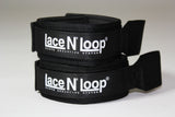 Midnight Black (white logo) Lace N Loop Straps (Pair)
