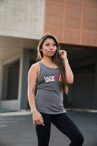 Women's Lace N Loop Racerback Tank Top - Gray