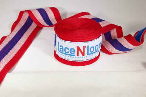 180 Inch Mexican Style Wrinkle Resistant Hand Wraps - Red, White & Blue - Lace N Loop