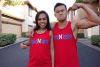 Red Unisex Lace N Loop Tank Tops