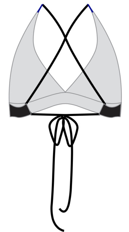 Women's Black Tie Optional Triangle Bikini Top - Baby Rhino Multisport