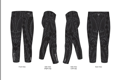Women's Bringing Sexy Black Tribal Capri Leggings - Baby Rhino Multisport