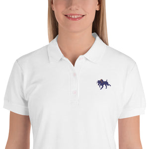 Little Brown Dog Embroidered Women's Polo Shirt-Women