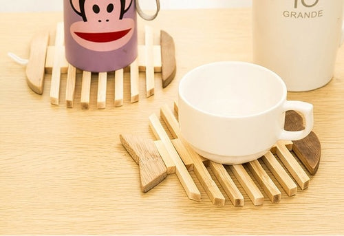 Apple Fish Bone Bamboo Coasters