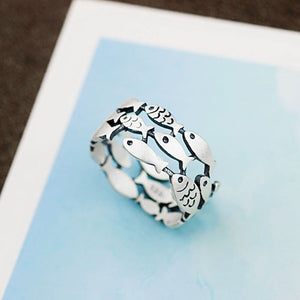 Silver School of Fish Ring