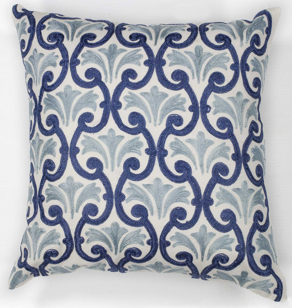 "Cotton Ivory Blue Chateaux Pillow, 18"" x 18"""