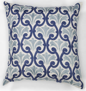 "18"" x 18"" Cotton Ivory Blue Chateaux Pillow"