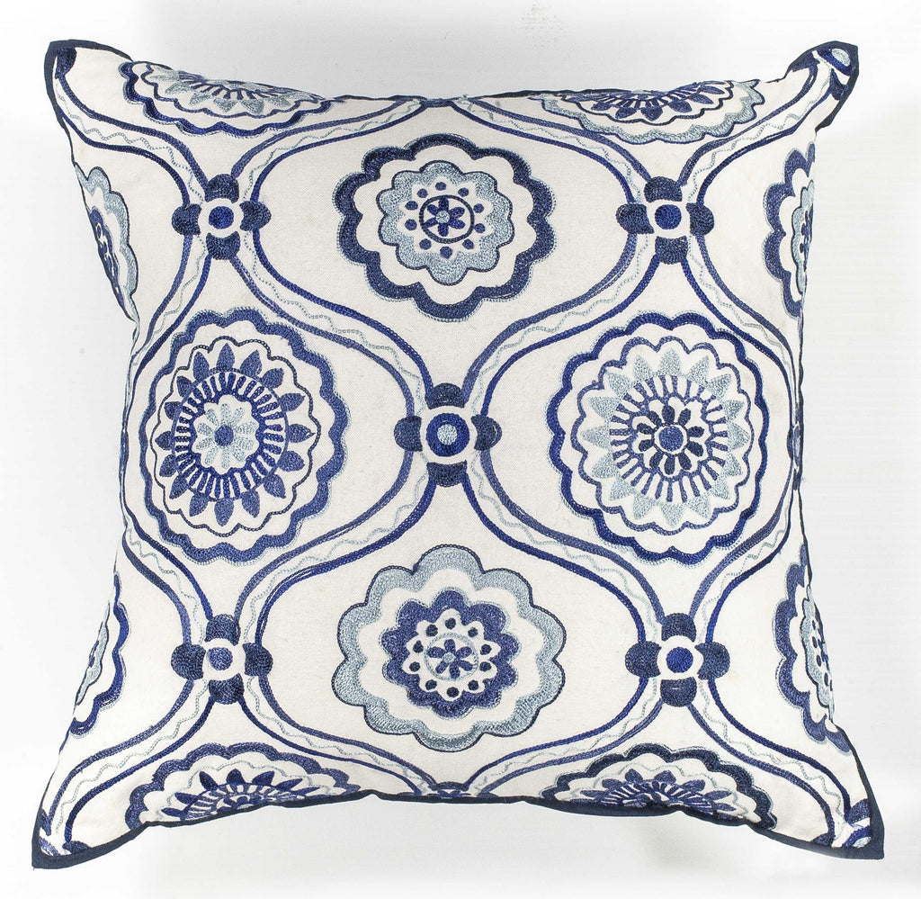 "18"" x 18"" Cotton Ivory Blue Mosaic Pillow"