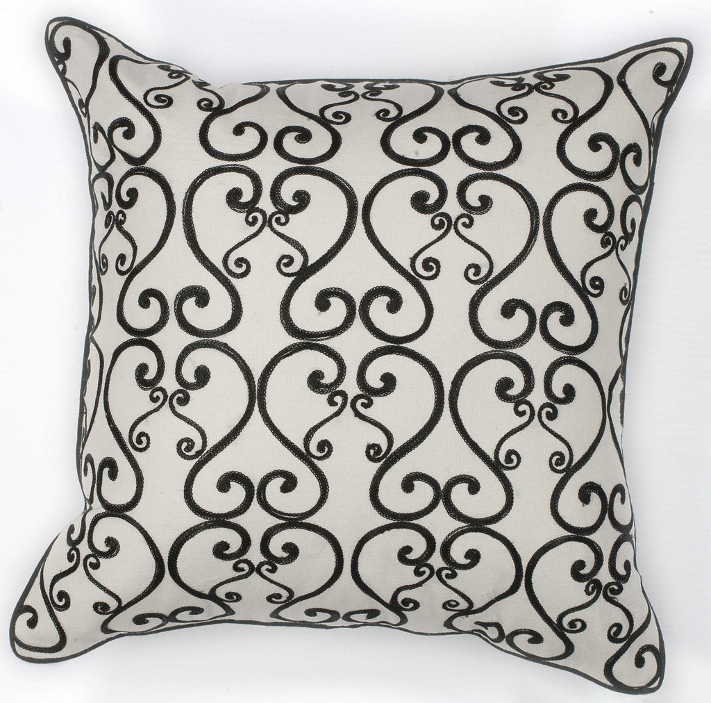 "18"" x 18"" Cotton White Black Scroll Pillow"