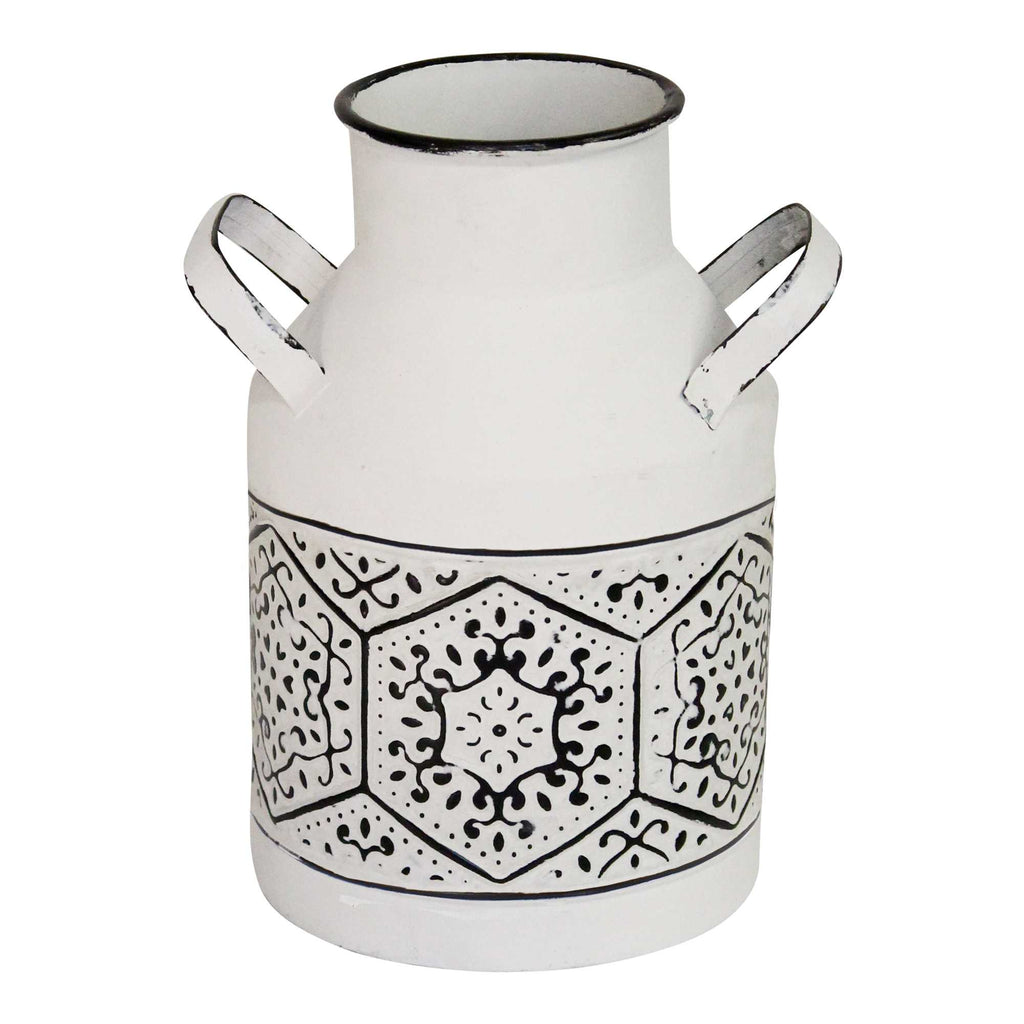 White Black Metal Metal Vase