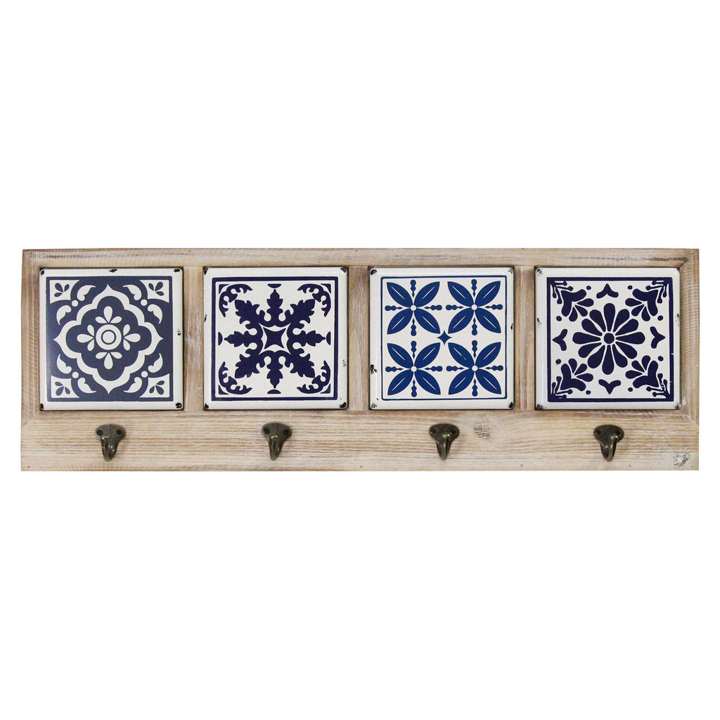 Blue White Tiles Multi Fir Wood Metal Coat Rack
