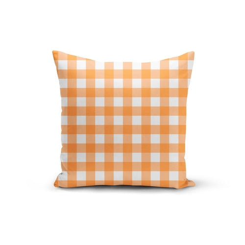 Orange Gingham Pillow Cover